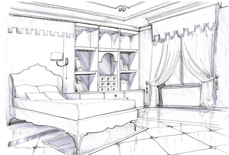 Simple bedroom sketch interior design for Bedroom designs sketch